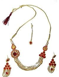 3ea8094d6980 Bollywood Conjunto Joyas Yami Rojo Estructura Dorada con bindis y  brazaletes Indios Joyas Set Sari joyería