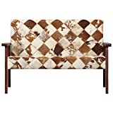 Tidyard 2-Sitzer-Sofa Weiß und Braun Echtes Ziegenleder Sofa 2-Seater Cowhide Look Upholstered Lounge Sofa Leather Designer Sofa Two Seater Sofa Living Room White Brown Genuine Goat Leather