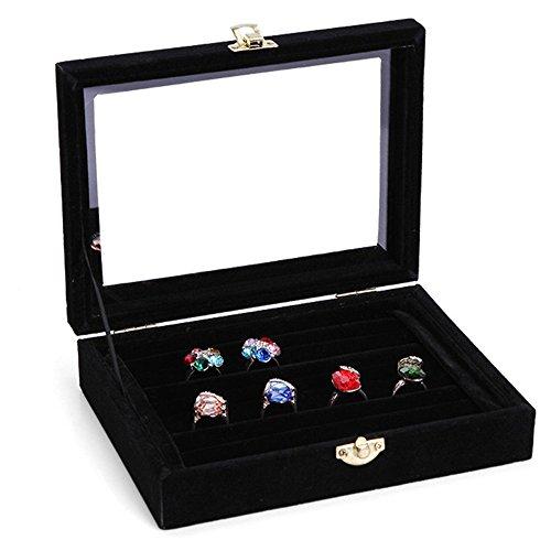 Ringkasten Ring Display Schmucklade Schmuckkasten Etui Box Schatulle für ca. 50 Ringe mit Glasdeckel (Schwarz)