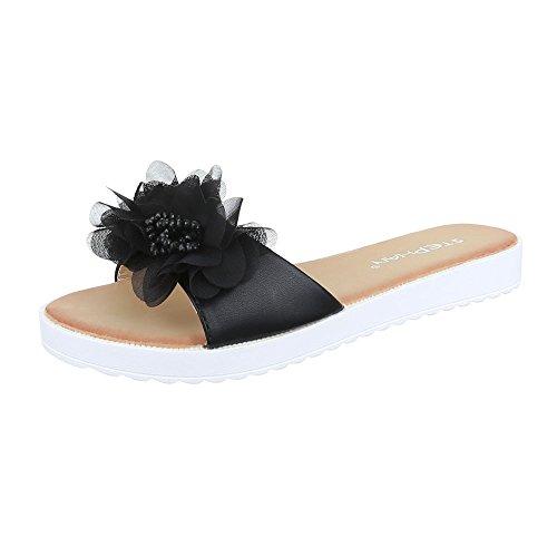 Pantoletten Damen Schuhe Jazz & Modern Leichte Ital-Design Sandalen / Sandaletten Schwarz