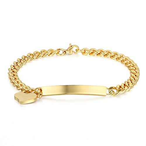 JewelryWe Schmuck Edelstahl Armkette Damenarmband Charmsarmband Herz- Anhänger Armband Gold für Damen kostenlos Gravur