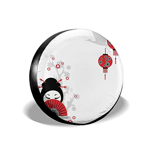 ErwangGo Tire Cover Wheel Covers,Geisha Woman Holding Japanese Fan Floral Landscape Crane Bird Happiness Classical,for SUV Truck Camper Travel Trailer Accessories(14,15,16,17 Inch) 17 -