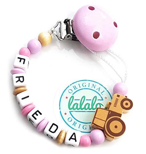 LALALO Schnullerkette Traktor Trecker mit Namen, Baby Schnullerhalter aus Holz, Handmade Individuelle Namenskette zur Geburt, Geburtstag, Weihnachten, Taufe für Mädchen (Rosa) (Rosa Traktor Für Mädchen)