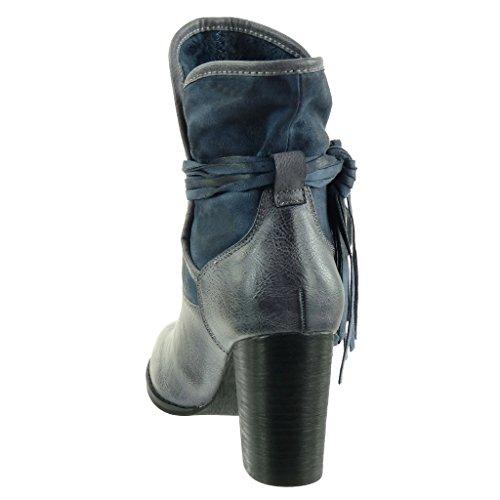soletta donna briglia Moda tacco Stivaletti multi Tacco cavalier a materiale da di Foderato bi 9 Scarpe Angkorly 5 CM Scarponcini Pelliccia flessibile frange blocco Blu alto w1qz7yF