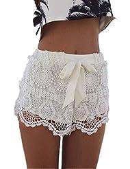 ZANZEA Sexy Femmes dentelle Crochet en mousseline de soie Plage Shorts Pantalons