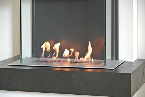 muenkel design Milano Ethanolkamin: Verde Gris (Schiefer grün-grau) – line burner 500 – Haube Schwarzgrau - 8