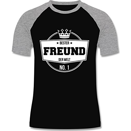 Shirtracer Typisch Männer - Bester Freund der Welt - Herren Baseball Shirt Schwarz/Grau Meliert