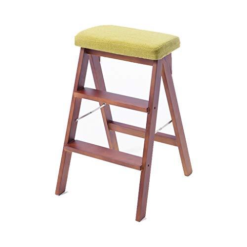 DUOER-Klappstühle Trittleiter schwere Holz Barhocker (bis zu 150 kg) tragbare Klapptritthocker mit Anti Slip gerippte Stufen (Color : C)