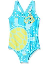 Speedo Tommy Tortuga Crossback Bañador Niña Piscina y Playa, Color Azul/Amarillo, Talla 3 Años