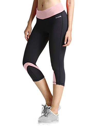 Baleaf Damen Sport 3/4 Hosen Yoga Workout Capri Legging Pink Größe L