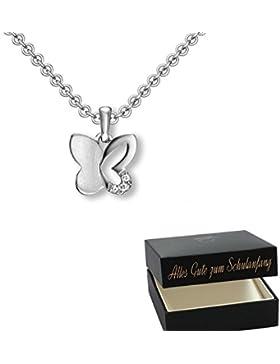 Geschenke zur Einschulung Schmuck Mädchen ❤️ Schmetterling Kette Silber +GRATIS Etui mit schöner Gravur+ Glücksbringer...