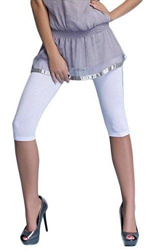 Lot de 2 leggings de sport en coton longueur 3/4, 16 différentes couleurs Blanc