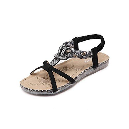Damen Sommer Bohemia Schuhe Strass Flach Flip-Flop Mädchen Bequeme Strand Zehentrenner Sandalen (Kinder Schuhe Strass)