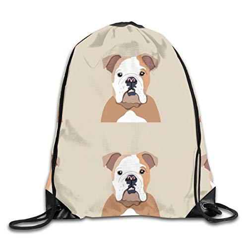 Drawstring Backpack Bags English Bulldog Dog with Cut Lines Dog Panel Dog Cut Sew Sport Athletic Gym Sackpack for Men Women -