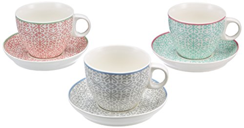 Versa Set of 3 Porcelain Coffee Cups and Saucers with Mosaic Design - Multicoloured - 200ml