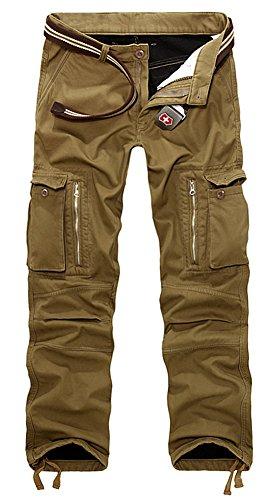 AIZESI Uomo Outdoor Pantaloni in Pile Spesso Inverno Foderato Caldo Pantaloni Cargo Lavoro Pantaloni da Combattimento Mimetico, Uomo, Khaki#018, 34 Waist x Regular