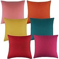 Aneco - Juego de 6 fundas de almohada decorativas para exteriores, impermeables, para patio, sofá, tienda, balcón y sofá, 45 x 45 cm, 6 colores