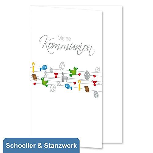 10 Stück Grußkarten/Einladungskarten/Danksagungskarten zur Kommunion mit 4-farbigem Druck Schnüre- inklusive 10 Umschlägen - Schoeller & Stanzwerk