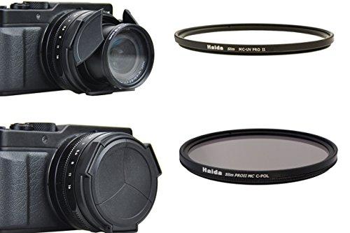 Zubehörset für die Panasonic Lumix DMC LX-100 und Leica L109 - Spezial Automatik Objektivdeckel mit HAIDA Slim Pro II MC UV und Slim Pro II MC Polarisationsfilter Filter - Bitte Hinweis beachten-