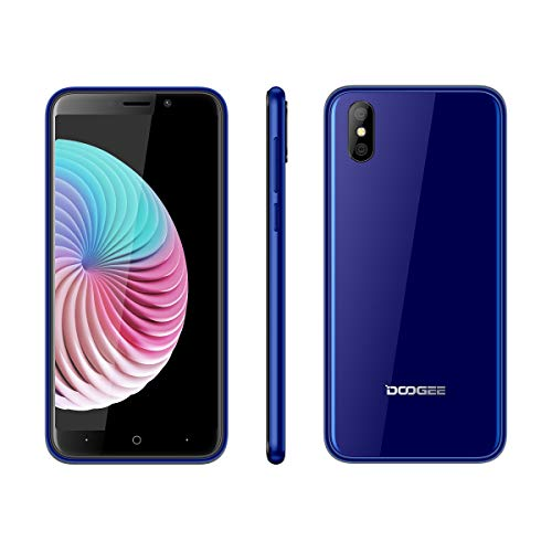 DOOGEE X50 2018 Smartphone ohne Vertrag, Handy Dual SIM 5,0 Zoll, 3G Phone Portable, Android Go Mobile, Telephone Core 1+8 GB, Dual Kamera, Phone entsperrt Günstige bei weniger als 100 Euro, Blau