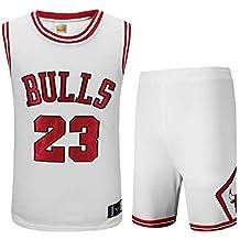 Basport Traje de Ropa de Baloncesto Masculino NBA Bulls Michael Jordan No. 23,C