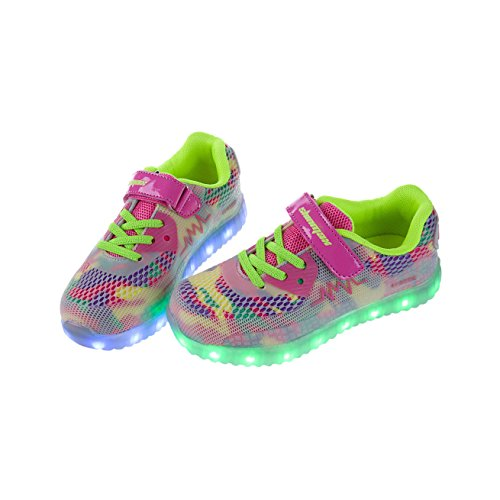 Shinmax Spring-Summer New launched Kid Led sneakers 7 color led shoes with CE certificate 31 EU Youth Pink