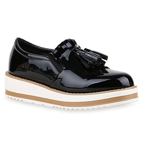 Damen Slipper Fransen Lack Schuhe Profilsohle Flats Schwarz Lack