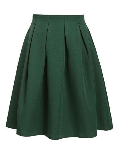 Zearo Damen Faltenrock hoch Taille Skater Rock Glockenrock Freizeit Voll Kleid A Linie Skirt Winter Kleid