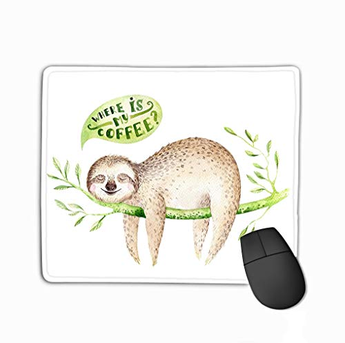 Custom Mouse Pad,11.81 X 9.84 Inch Unique Printed Mouse Mat Design Baby Animals Sloth Nursery Isolated Painting Boho Tropical Child Tropical Cute Palm Tree Leaves (Palm Haus Tree)