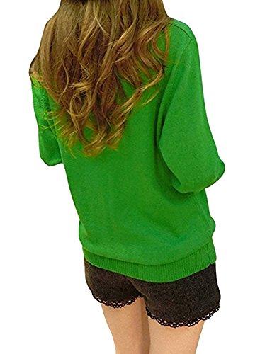BLACKMYTH Donna V-collo Lose Maglione Maglia Manica Lunga Casual Pullovers Tops Verde