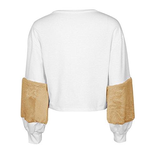 Bonboho Femme Sweatshirt Manche Fausse Fourrure Patchwork Pull-over Tops Hauts Automne Hiver S M L XL Kaki