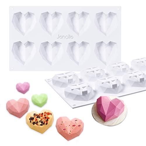 Janolia Schokoladenformen, Herzform 8 Gitter Silikon 3D Diamant Süßigkeits-Formen-Behälter für Kuchen verzieren, Backen, Süßigkeiten machen, Schokolade, Cupcake, 29.5 * 17.2 * 2.5 cm (3d-herz-silikon-schokoladen-form)