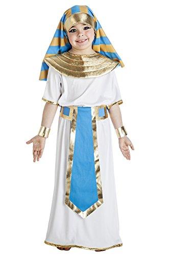 Imagen de disfraz de faraón egipcio blanco y azul para niño
