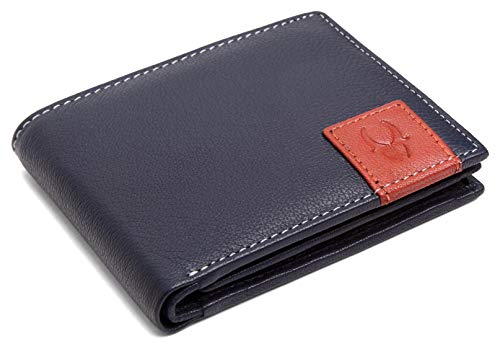 WILDHORN New HIGH Quality Men'S Genuine Leather Wallet (Blue)