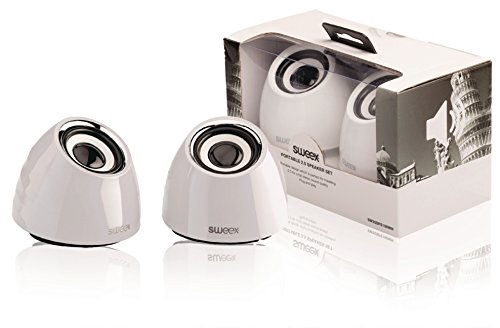 Sweex USB Design Lautsprecher System für Pc Computer Laptop Notebook Gamer Gaming Box Boxen Lautsprechersystem weiß