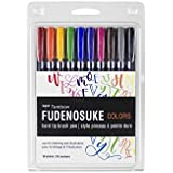 Tombow 56429 Fudenosuke Color Brush Pen, 10-Pack. Hard Tip Fudenosuke Brush Pens in Assorted Colors for Calligraphy and Art Drawings