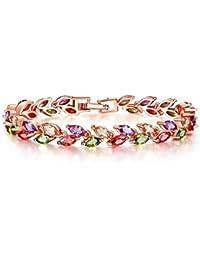 Yutii Leafs-In-Tiara Swiss Cubic Zirconia 18K Gold Plated Diamond Strand Bracelet For Women