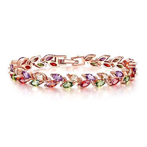 Yutii Leafs-In-Tiara Swiss Cubic Zirconia 18K Gold Plated Diamond Strand Bracelet For...