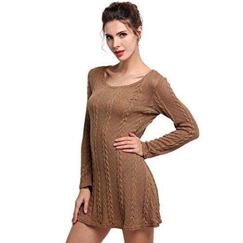 Sunnywill Eleganter Lange Ärmel Crewneck Pullover Slim Casual gestrickte Pullover Minikleid Sommerkleid Partei Kleid für Mädchen Damen Braun