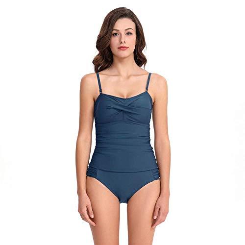 Women 'S tibetischen blau Split Zweiteiliger Badeanzug Europa Amerika Sexy Cover Bauch Slim Bikini Mode Triangel Strap Bademode Tube Top Badeanzug Strand/Urlaub/Badeanzug -