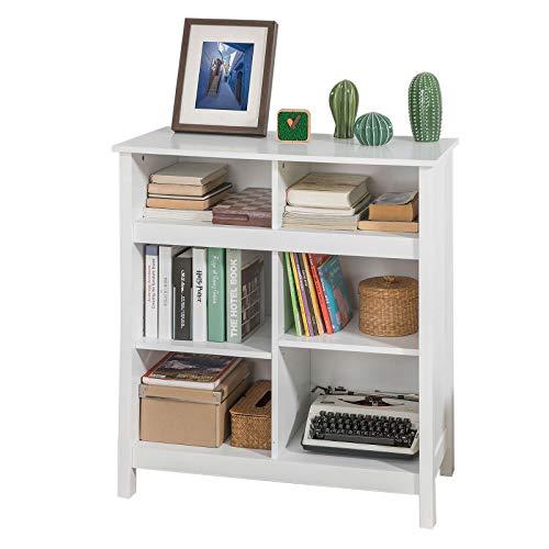 SoBuy FSB15-W Kommode mit 6 Ablagefächern Sideboard Flurschrank Beistelltisch Bücherschrank Küchenschrank in Weiß 2 verstellbar Ablagen BHT ca.: 80x90x40cm
