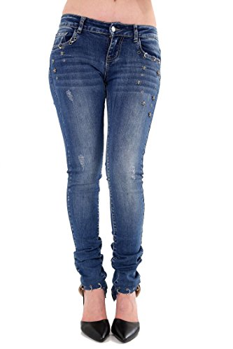 Damen Qualität weich und stretchig Stoff Denim Jeans EUR Größe 34-42 in schwarz, blau, weiß und rosa von Star Trendz Blaue Jeans