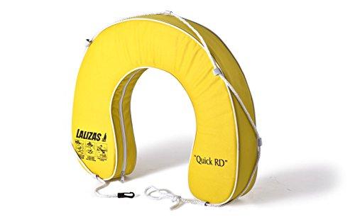 wellenshop Lalizas Hufeisen-Rettungsring Gelb 145N Polyester PVC-Keder mit Rundumleine UV-Beständig Rettungsreifen Hufeisenform Boot