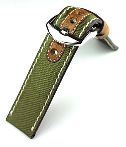 Sulla Herren Uhrenarmband Canvas & Leder Marine Grün 22mm (Uhrenarmband Canvas Leder)