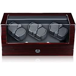 Excelvan® 6+0 Automatic Watch Winder Luxury Automatic Watch Display Box Case 6 Watch Winder Rotator Wood Watch Rotation Case Piano Finish Handmade Watch Winder Brown