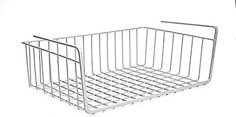 UPASANA Stainless Steel Undershelf Basket (Silver, 16-inch) - Set of 2