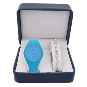 Coffret cadeau montre Femme Chtime avec bracelet argenté dauphin et strass référence CB4C013-TURQUOISE-R