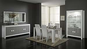 Matelpro-Salle à manger complète design laquée blanche et gris Ancone-Table 190 cm