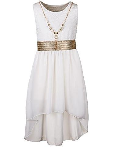 Mädchen Sommer Kleid in 7 Farben mit Kette (14 / 152 / 164, #400 Weiss)
