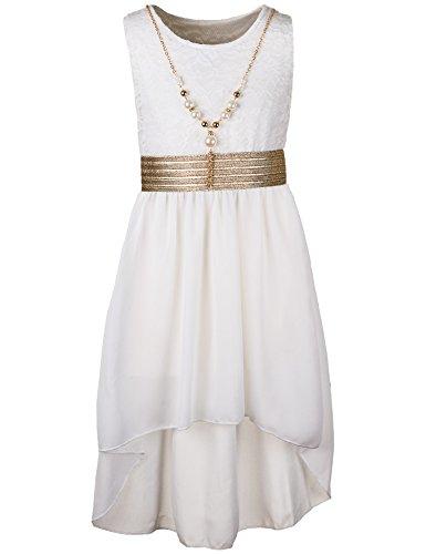 Kinder Sommer Fest Kleid für Mädchen Sommerkleid Festkleid mit Kette in vielen Farben M288ws Weiss Gr. 18 / 170 (18 Weiße)